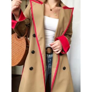 🆕Heartbeat Classic Trench Coat with Red Outlining